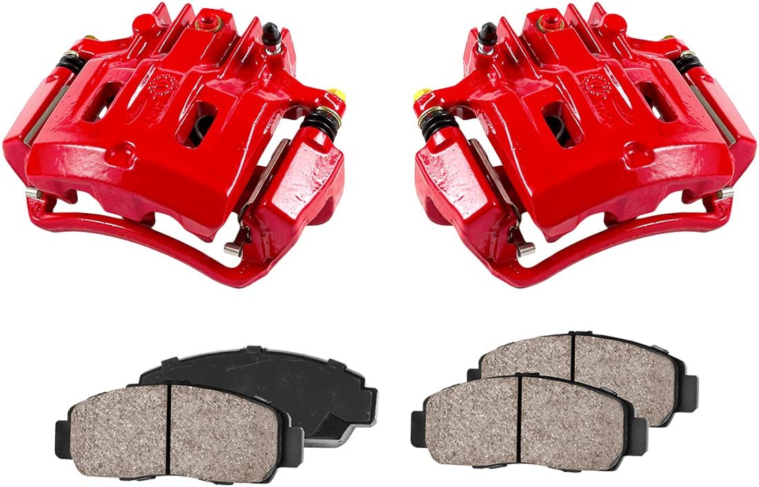 REAR Performance Loaded Powder Coated Red Remanufactured Caliper Assembly 2 Low Dust Ceramic Brake Pads CCK12293