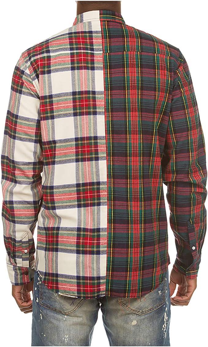 Akoo Hidden Men's Long Sleeve Button Front Woven Classic Shirt in Bleach White
