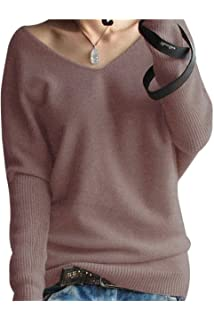 LONGMING Women s Fashion Big V-Neck Pullover Loose Sexy Batwing Sleeve Wool  Cashmere Sweater Winter 7aa571b58
