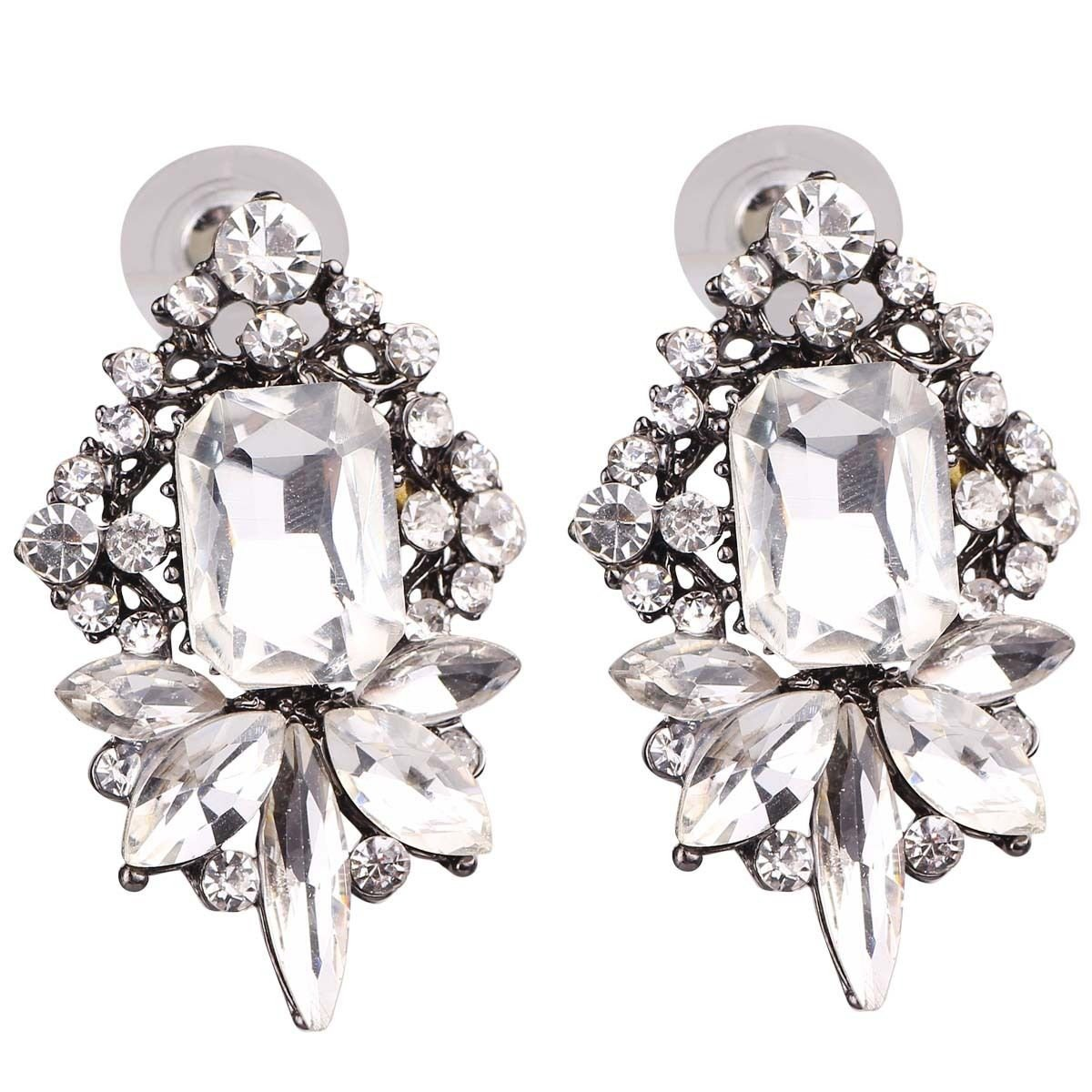 Art Deco Antique Vintage Style Rhinestone Wedding Bridal Prom Earrings