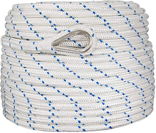 """New 150/'x1//2/"""" Braided Nylon Boat Anchor Rope//Line with Thimble"""