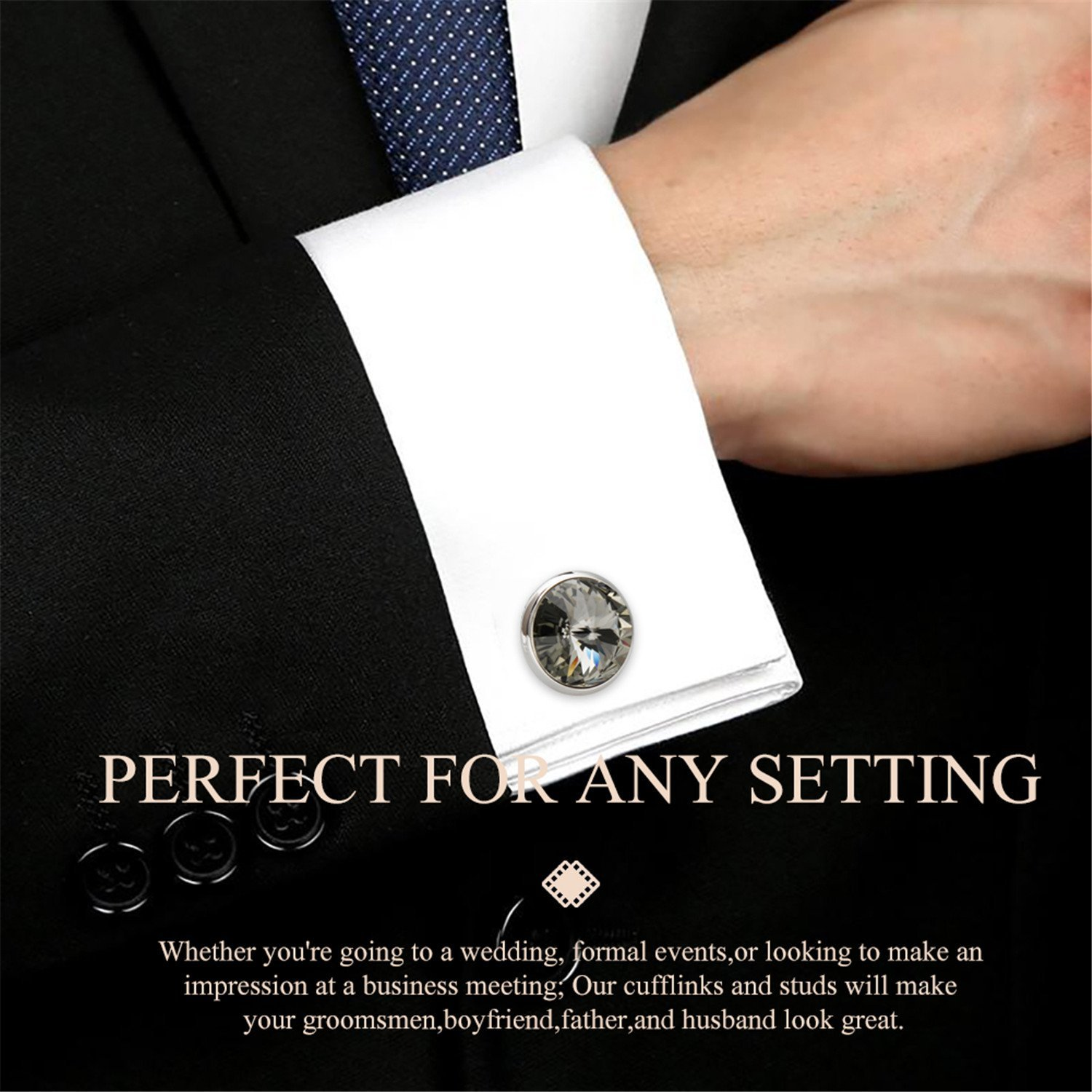 HAWSON Cufflink and Studs Tuxedo Set Silver Color with Swarovski Crystals in Grey by HAWSON (Image #3)