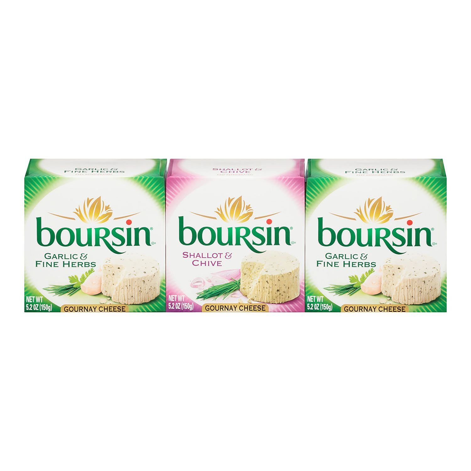 Boursin Garlic Herb and Shallot Chive Cheese (5.2 oz. each, 3 pk.) by Boursin