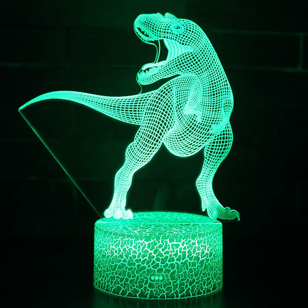 Night Light 3D lamp 7 Colors Changing Nightlight with Smart Touch Control 3D Night Light for Kids Room Decor or Perfect Gift for Kids Bedroom Theme Decor (Dinosaur Tyrannosaurus) by LLAMEVOL (Image #6)