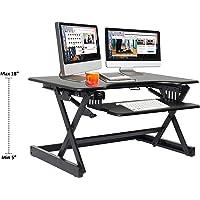 """Rocelco ADR Básico Soporte De Mesa Para computadora de altura ajustable (Riser, Deluxe - negro, Deluxe 32"""" - Black"""