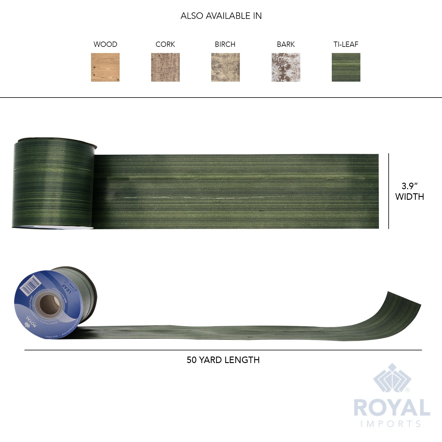 Green Aspidistra Ti Leaf Pattern Poly Satin Waterproof Ribbon 4'' (#100) Floral & Craft Decoration, 50 Yard Roll (150 FT Spool) Bulk, by Royal Imports by Royal Imports (Image #6)