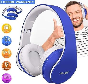Auriculares Bluetooth Inalámbricos, Auriculares de Diadema Estéreo, Auriculares Plegable con Micrófono Manos Libres Bluetooth para TV Smartphone Tabletas Radio (Azul): Amazon.es: Electrónica