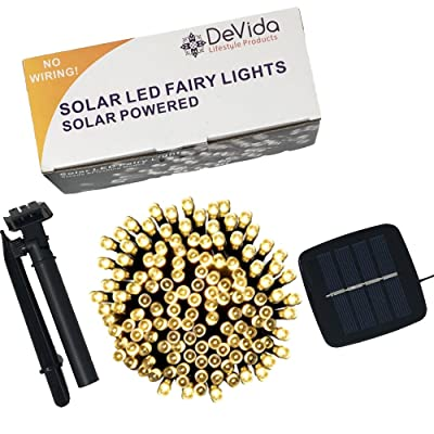 DeVida Solar String Lights 120 Warm White LED, Easy to Install, Automatically Turns on at Night, Outdoor Waterproof, 55 ft Set Includes 13 ft Lead Wire Plus 42 ft Lighted Strands for Tree Wrap