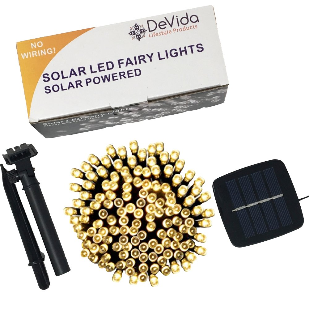 DeVida Solar String Lights 120 Warm White LED, Easy to Install, Automatically Turns on at Night, Outdoor Waterproof, 55 ft set Includes 13 ft Lead Wire Plus 42 ft Lighted Strands for Tree Wrap by DeVida