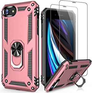 LUMARKE iPhone 8 Plus Case,iPhone 7 Plus Case with Sreen Protector,Pass 16ft Drop Test Military Grade Cover Cover with Kickstand Protective Phone Case for iPhone 8 Plus/7 Plus/6 Plus Rose Gold