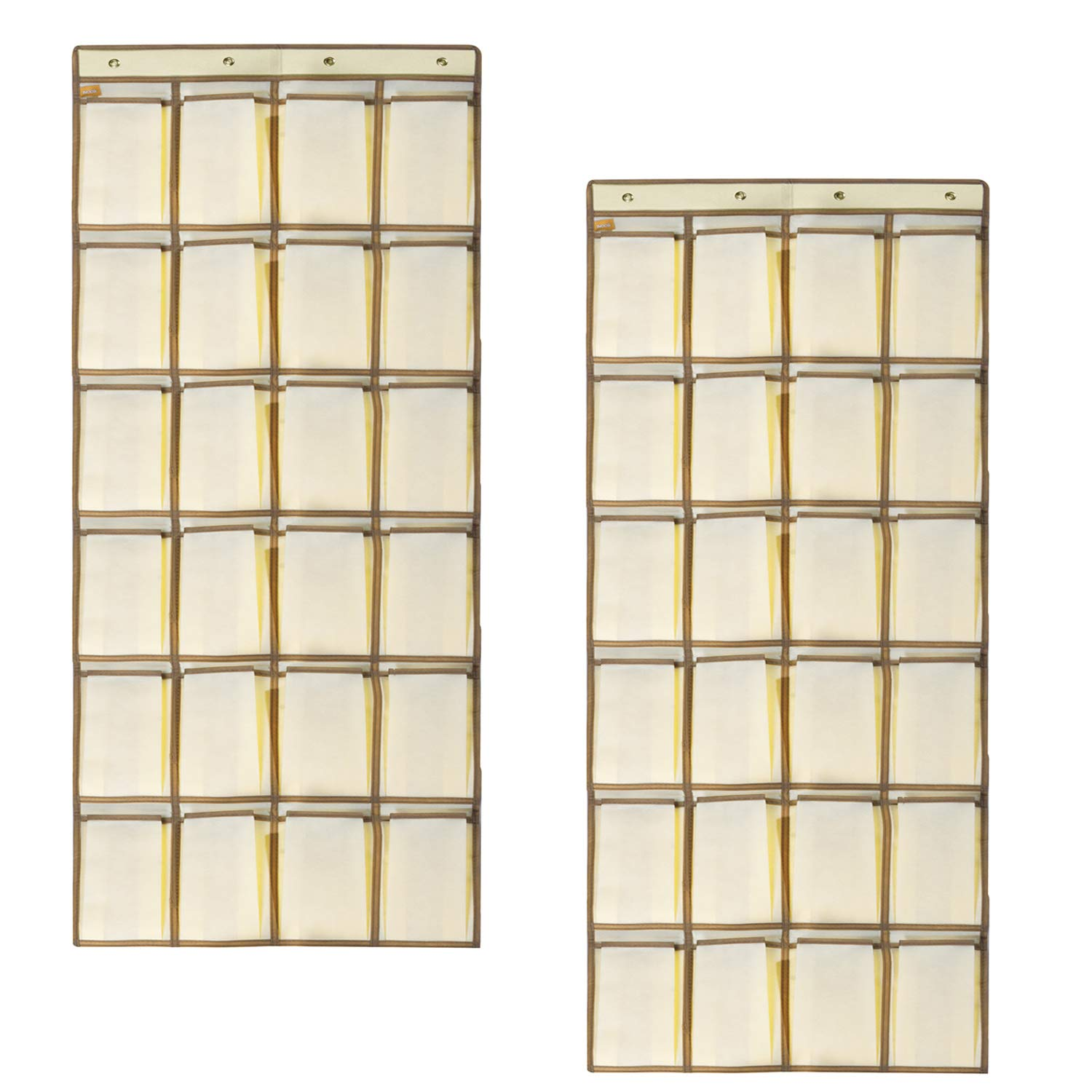 TVOOD 2 Pack Shoe Organiser Over the Door, 24 Large Pockets Back Door Shoe Holder with 4 Metal Hooks, Hanging Shoe Storage Holder for Space Saving, (160 * 55 cm) Beige