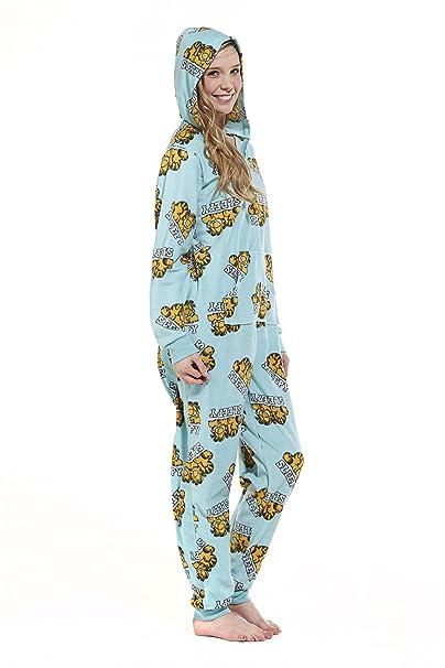 Womens Garfield Onesie Todo en uno Pijama con Capucha Ladies Nightwear Loungewear Garfield L
