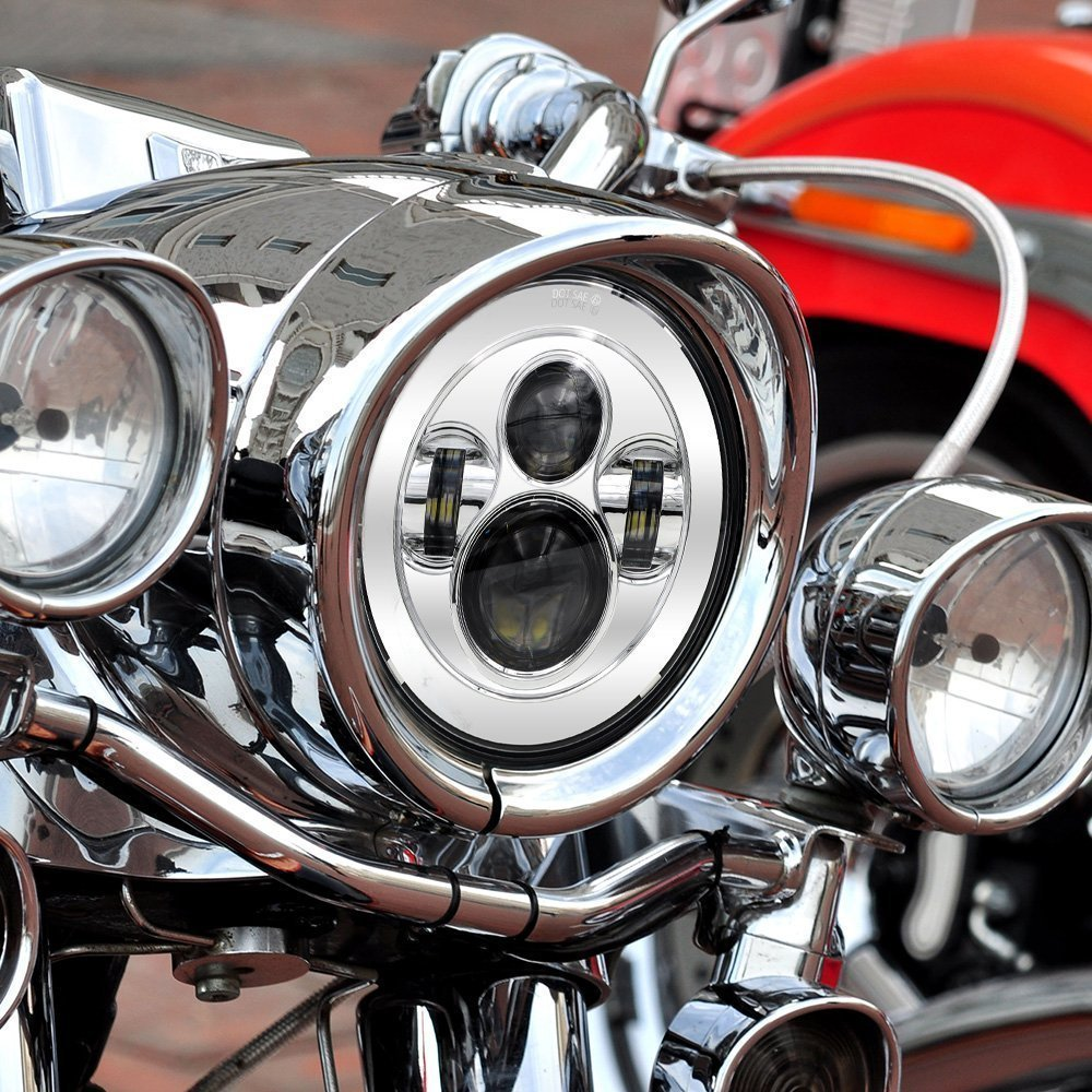 Black 7 Round LED Projection Headlights for Harley Davidson Road King Street Glide and Electra Glide 1 Pcs Road Glide