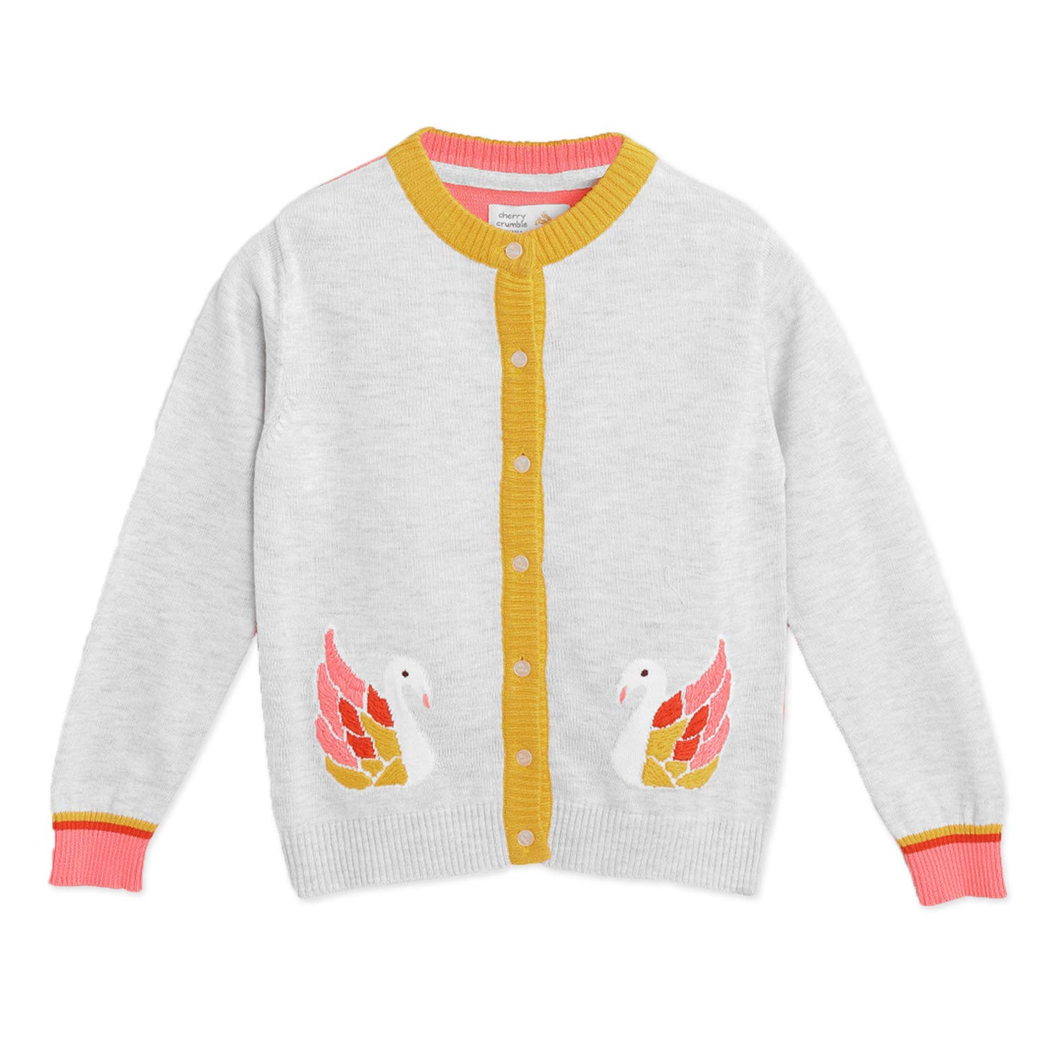 Grey with Applique Cherry Crumble California Kids Girls Pure Cotton Regular Length Top