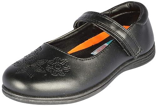 Girls Mary Jane Flat Flower Black School Shoes Dress Hook Loop Uniform Hawkwell
