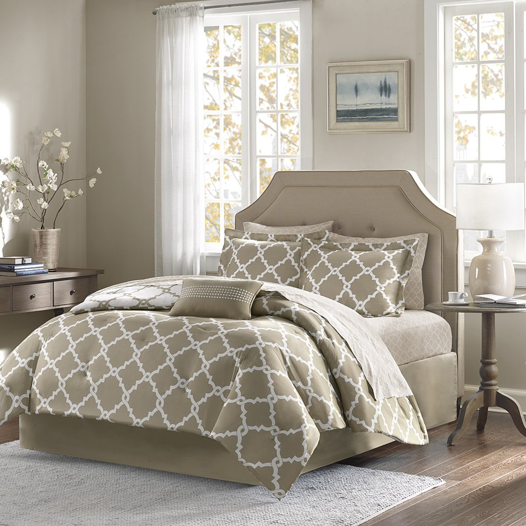 Madison Park Bed & Sheet Set Twin Taupe