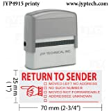 RETURN TO SENDER - Extra Large JYP 4915 Self Inking Rubber Stamp--Red Ink