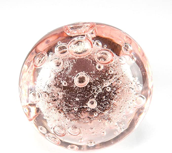 Romantic Decor /& More Chic Bath Cabinet Glass Pulls Kitchen Knobs Drawer Furniture Handles K276VM 2 Pc Pink Bubble Glass Knobs with Antique Brass Hardware