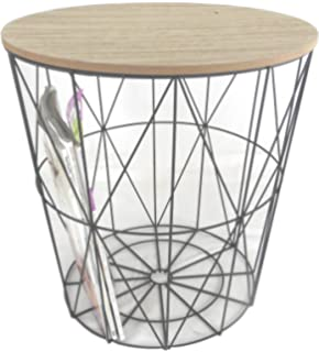 Melody maison black metal wire basket wooden top side table amazon marymarygardens metal wire small bedside occasional lamp table lift off lid greentooth Images
