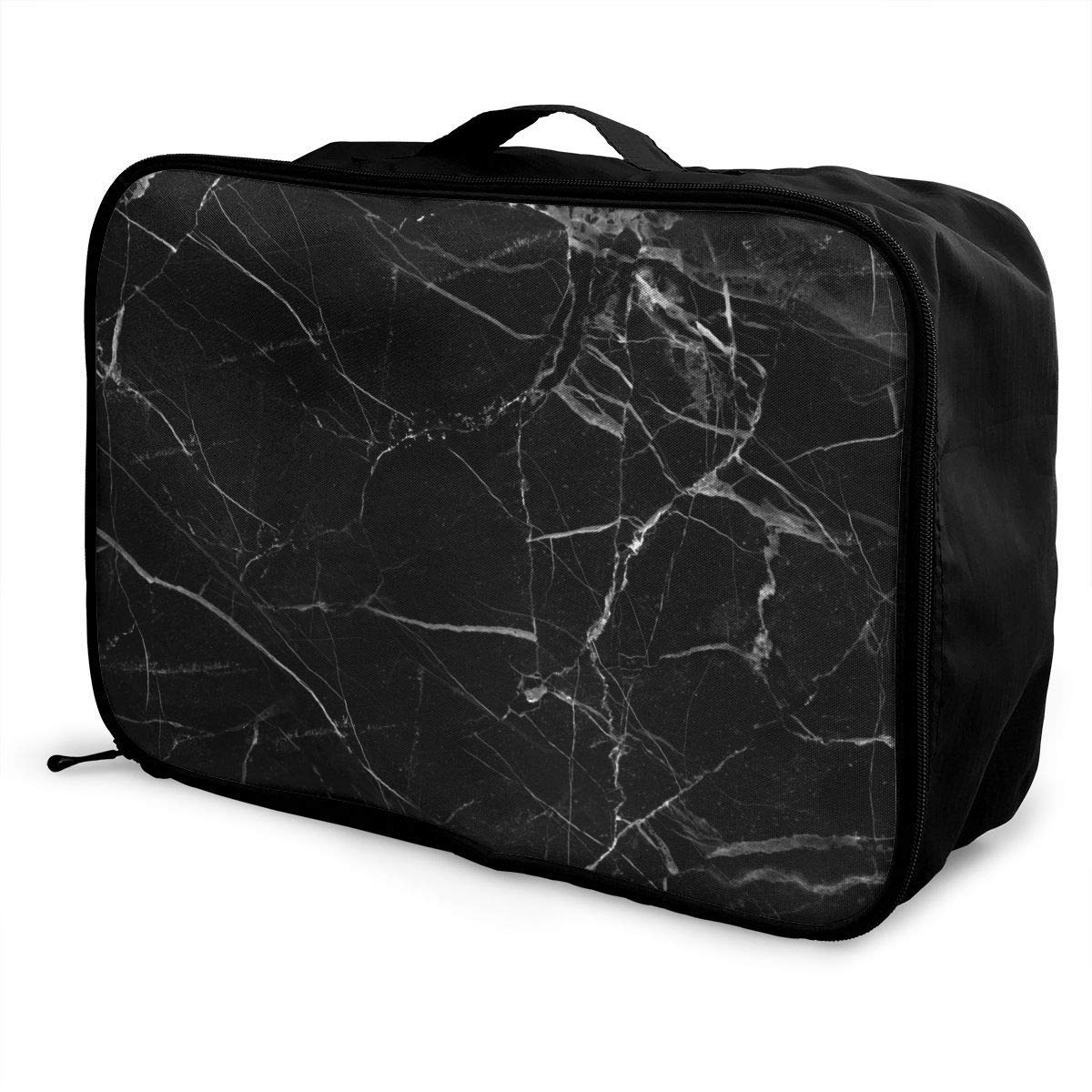 Portable Luggage Duffel Bag Black Marble Travel Bags Carry-on In Trolley Handle