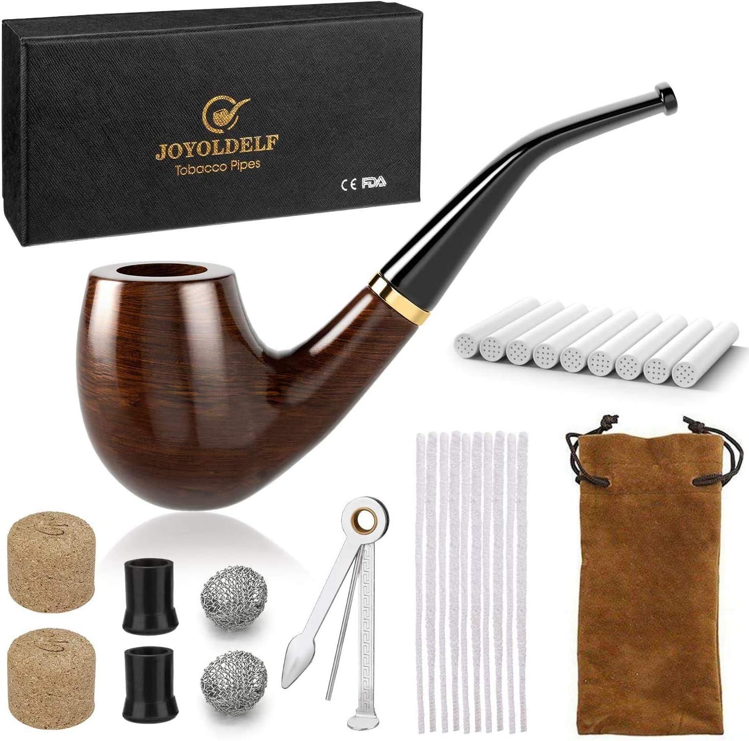 Joyoldelf Pipa de Fumar de Madera del Tabaco, Pipas de Tabaco de Pera con Limpiadores de Pipa, Filtros de Pipa de 9 mm, Espátula de Pipa 3 en 1, Con Bolsillo de Pipa y Caja de Regalo