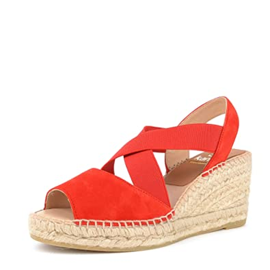 4c84a459e20 Kanna Ania Red Suede Wedge Espadrille Sandal: Amazon.co.uk: Shoes & Bags