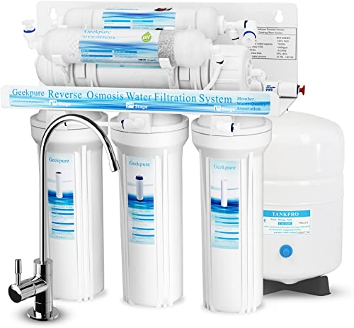 Geekpure 6-Stage Reverse Osmosis Drinking Water Filter System with Alkaline Mineral pH Remineralization Filter-NSF Certified Membrane Removes Up to 99 Impurities-Superb Taste High Capacity 75 GPD