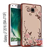 KC Shockproof Silicone Auora Flower Case Soft Transparent Back Cover for Samsung Galaxy J7 2016 (SM-J710F) - Rose Gold + Pink