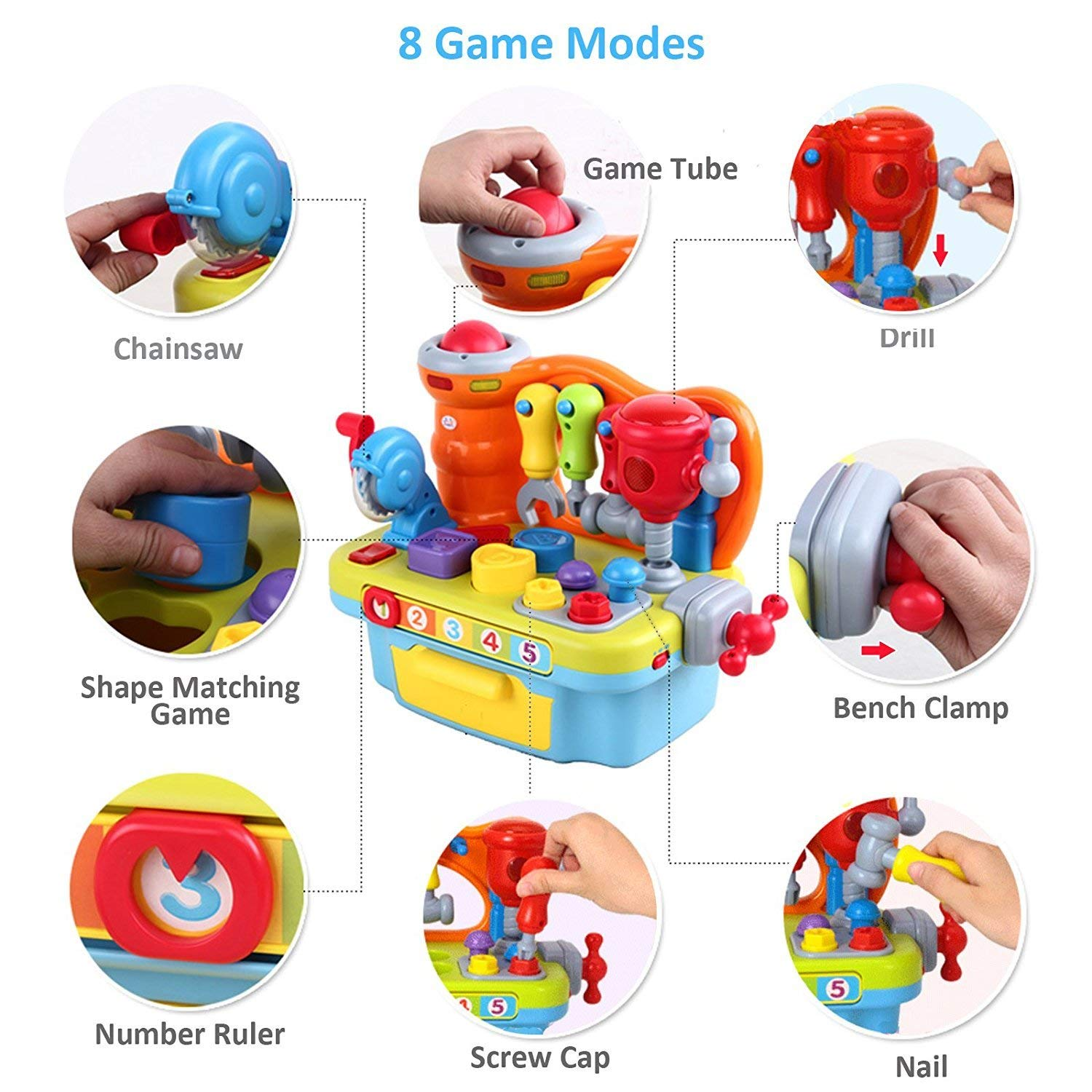 Woby Multifunctional Musical Learning Tool Workbench Toy Set for Kids with Shape Sorter Tools by Woby (Image #2)