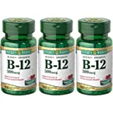 Nature's Bounty B-12 Quick Dissolve Tablets 500 Mcg, 300 Tablets (3 X 100 Count Bottles)