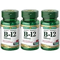 Nature's Bounty B-12 Quick Dissolve Tablets 500 Mcg, 300 Tablets (3 X 100 Count...