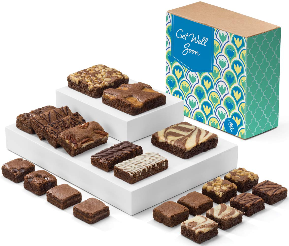 Fairytale Brownies Get Well Medley Gourmet Chocolate Food Gift Basket - Full-Size, Snack-Size and Bite-Size Brownies - 21 Pieces - Item CJ321