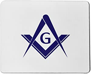 Blue Simple Square & Compass Masonic Mouse Pad
