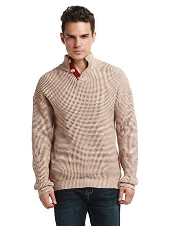 e2d6f733544986 Lynz Pure Men's Turtleneck Sweater Button Up Polo Ribbed Cable Knit Sweater  Pullover Tops Beige S