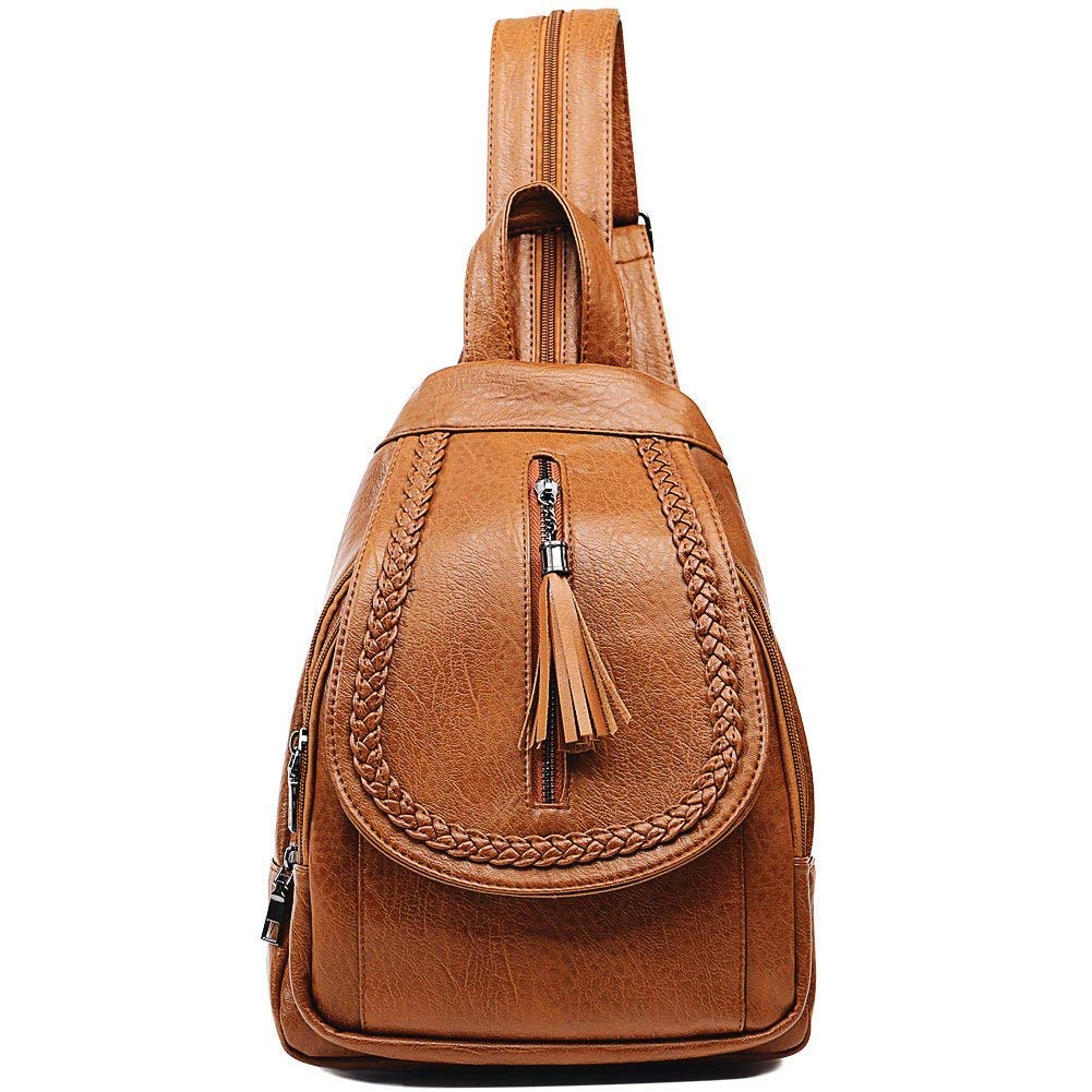 Sling Backpack Leather Convertible Purse Small Shoulder Bag for Women (Brown1)