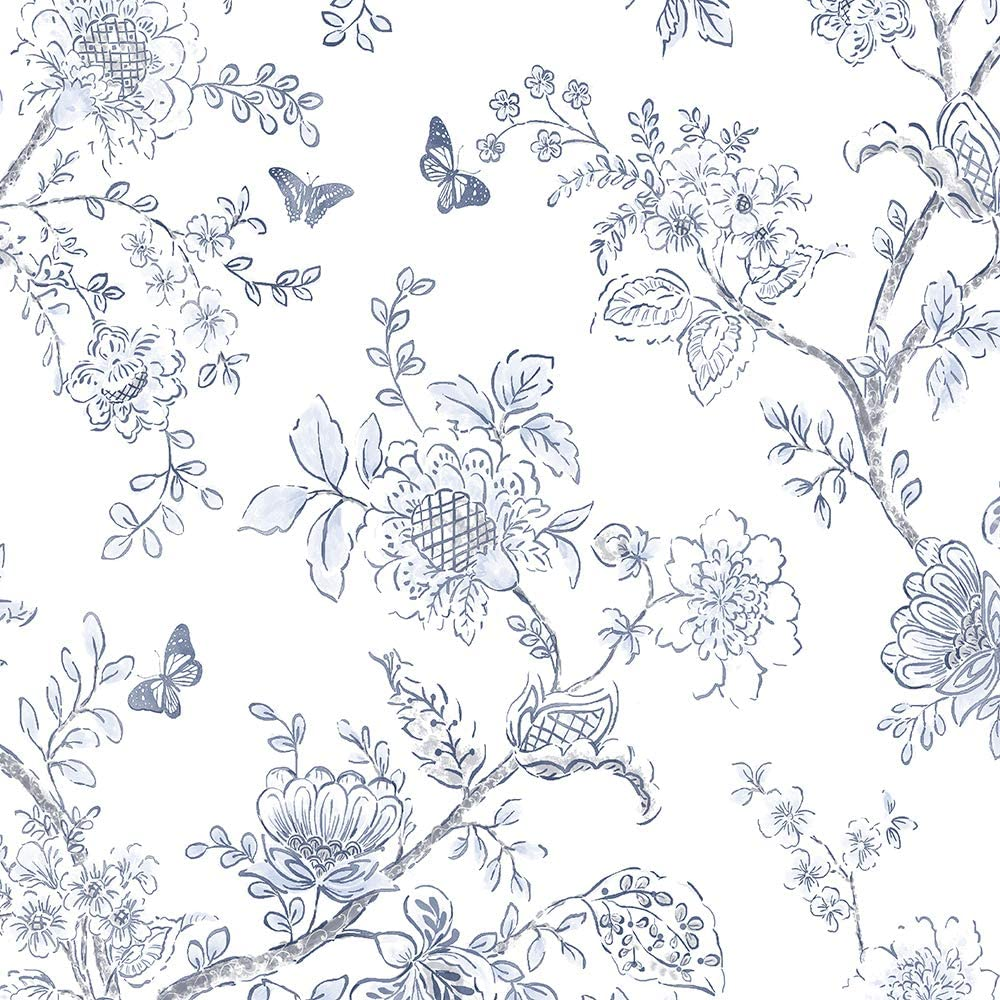 Norwall Fh37539 Butterfly Toile Prepasted Wallpaper Light Blue
