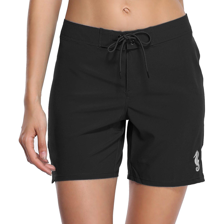 BeautyIn Women's Stretch Board Shorts Sport Swimwears Bottom Solid Beach Shorts,Black 2,16/Tag 3XL
