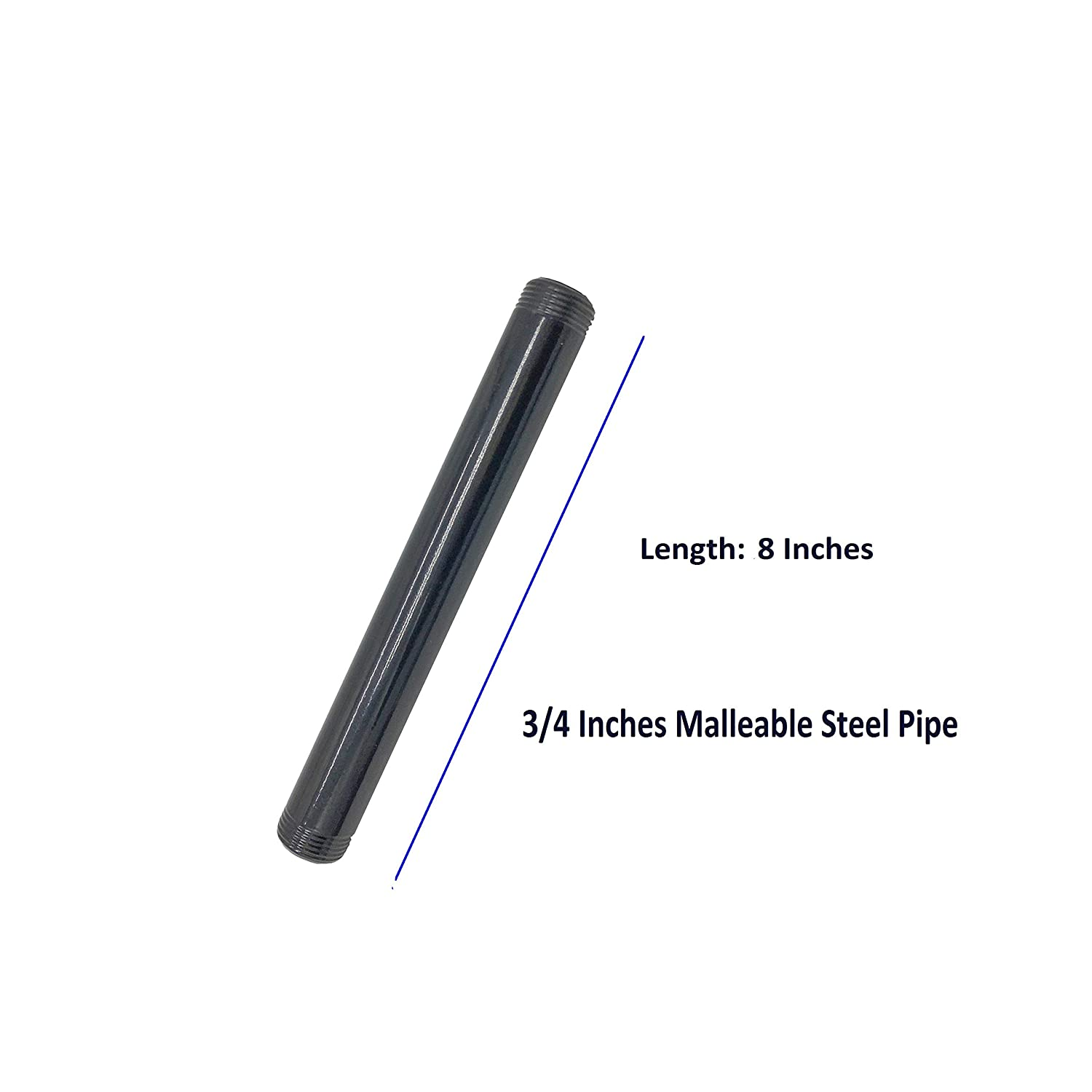 10 Packs Black Finish 3//4 Inches Black Pipe Threaded Pipe Nipples Malleable Steel Pipe Fitting Malleable Cast Iron Pipe Connector for DIY Shelving 16 Inches