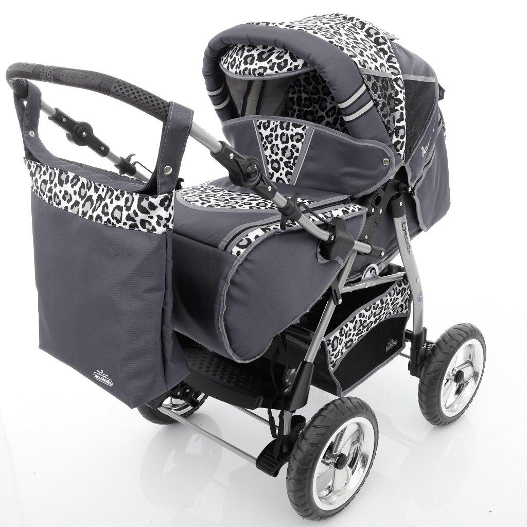 12 Beige /& Leopard Regenschutz, Moskitonetz, Getr/änketablett, Wickelunterlage Chilly Kids iCaddy Kombikinderwagen