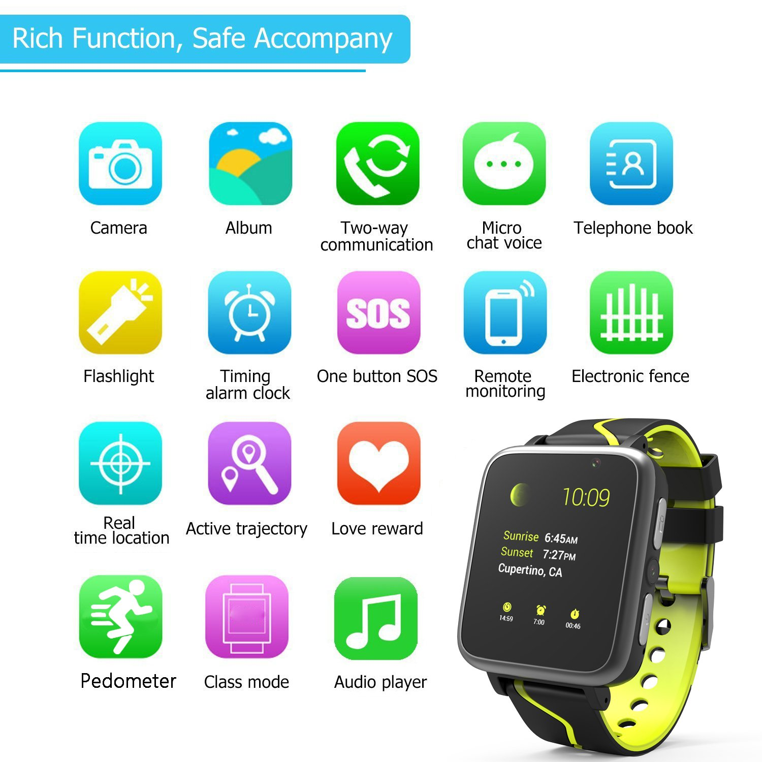 Jesam Kids Music Player Smart Watch - Smart Watch with Mp3 FM Player Watch [with 1GB Micro SD Card] and Camera Flashlight SIM Slot Phone Call Voice Chat for Students Age 4-12 (Black&Yellow) by Jesam (Image #3)