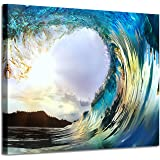 Ocean Wave Canvas Artwork Picture: Seascape Painting Print Wall Art for Living Room (24'' x 18'')