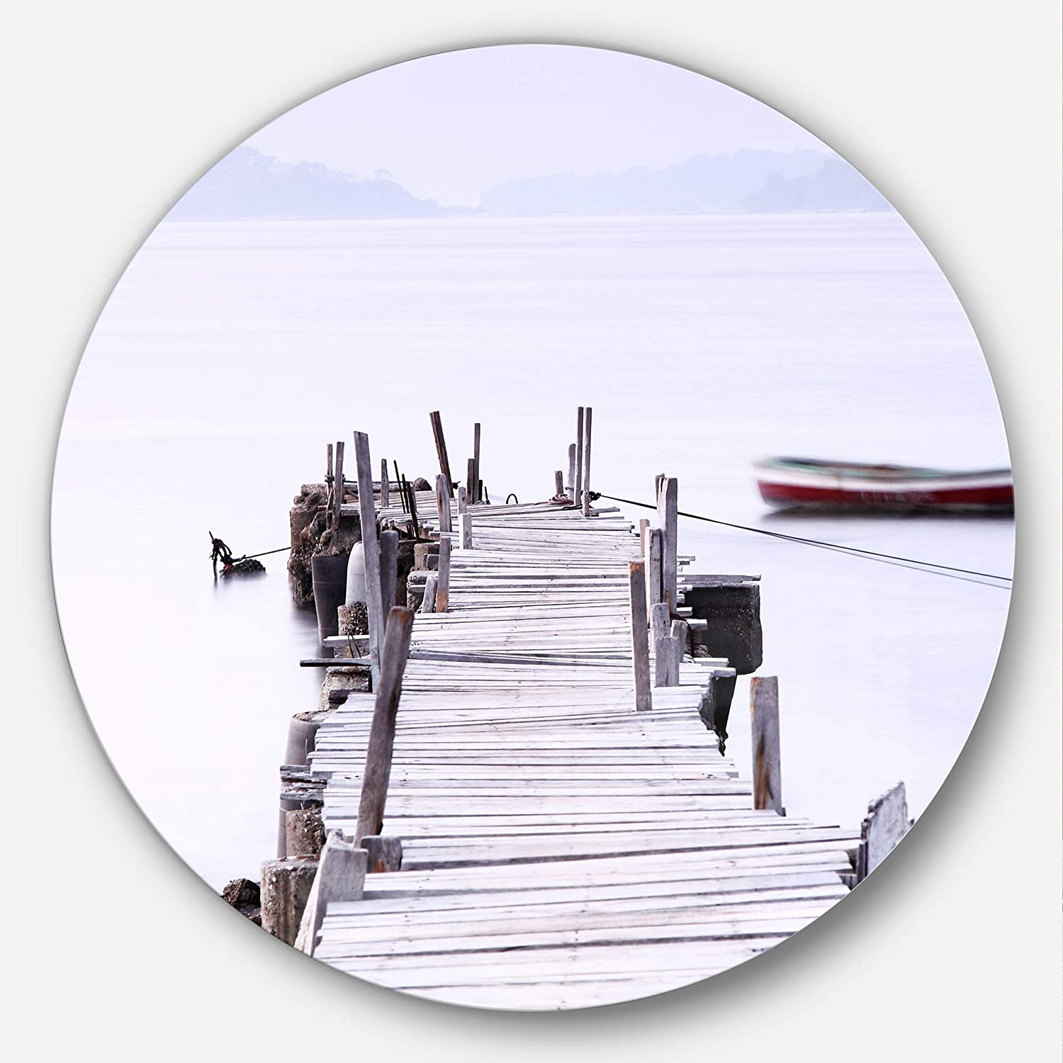 Designart Mt8403 C11 Foggy Sea With Pier Boats Seascape Photo Large Disc Metal Wall Art 11 X 11 Blue Amazon In Home Kitchen