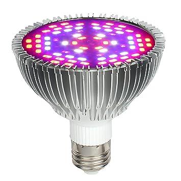 Desconocido Full Spectrum 50W E27 LED Bombilla de Crecimiento, Lámpara de Crecimiento para Plantas Interior, Bombilla de Luz de Planta para Invernadero de ...