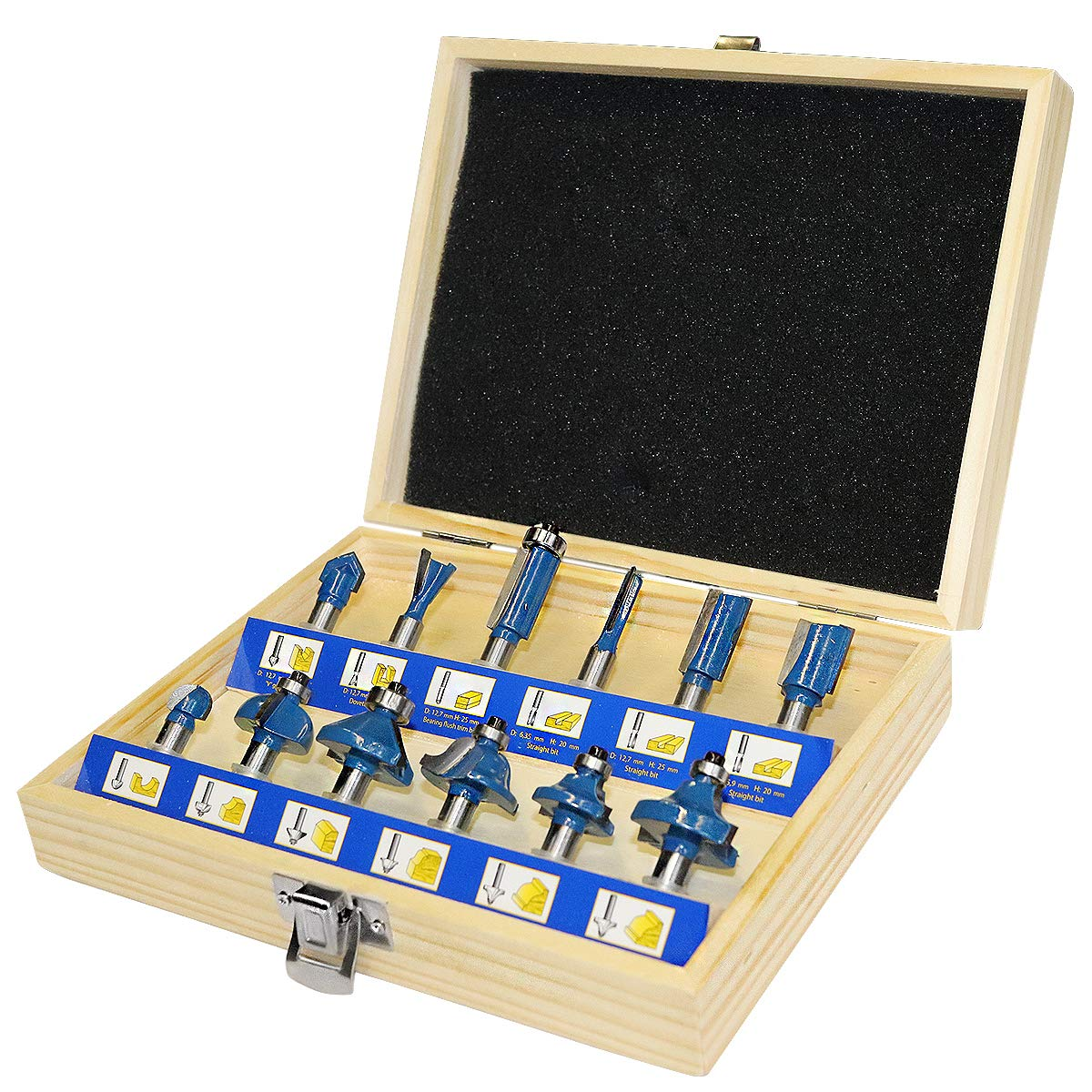 """S&R Router Bits Set for Wood, 8 mm Shank, 12 pcs. - Extra Hardened Tungsten Carbide Cutting Edges, Milling Machine/Router Drill Bits for Woodwoorking                TACKLFIE 19pcs Router Bit Sets, Wood Milling Saw Cutter with 4pcs Extra Bearing Sets, C3 Micro-Grain Tungsten Carbide Tipped Router Bit Set with 6mm Shank Fittings for Home & DIY                VonHaus 35 Pc Router Bits Set - TCT Tungsten Carbide Tipped Accessories Set Kit - 6.35mm (1/4"""") Shank Fittings                Bosch 2607019462, 6 Piece Router Set, Silver/Black"""