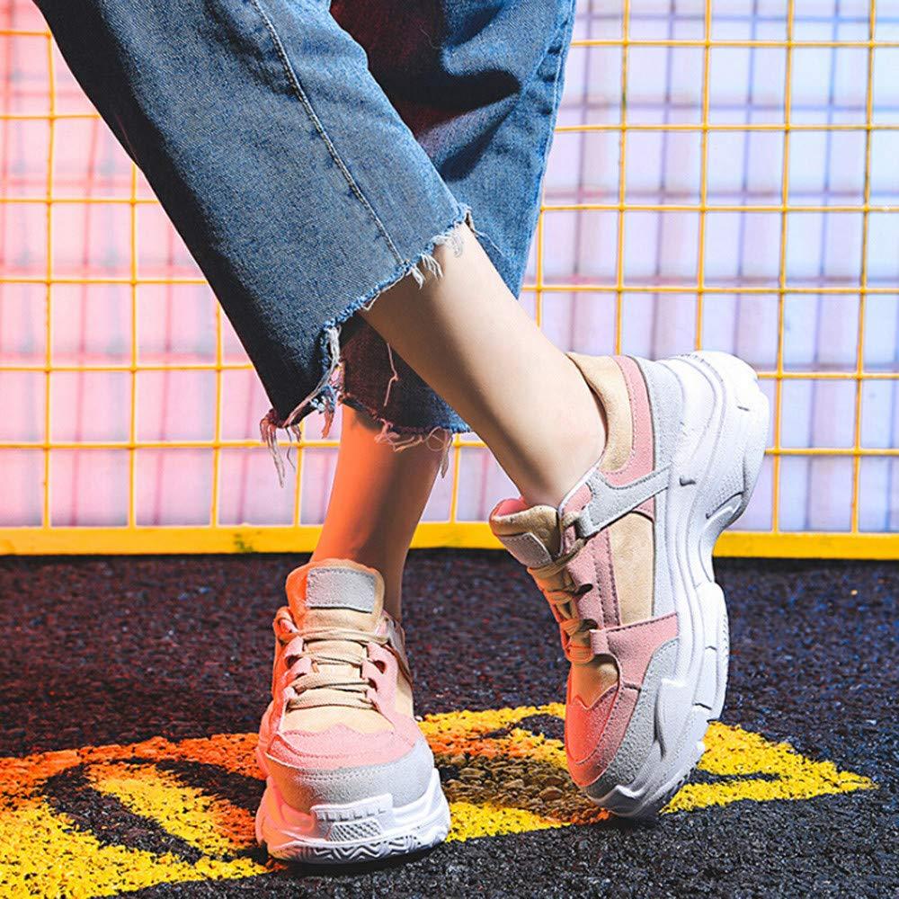 Sylar Zapatillas Deportivas Planas para Mujer Retro Cosiendo Color S/ólido Zapatillas De Cordones Suela Gruesa Moda Zapatos De Aumento 36-38.5