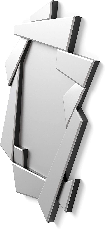 Lobby 90x70cm Specchi Decorativi Moderni di Pareti |Specchi Decorazione per Il Tuo Soggiorno Stanza da Letto Ingresso DekoArte E033 Specchi Sofisticati Grandi 3D Rectangulare Colore Argento