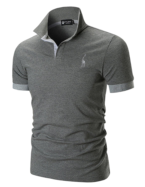 STTLZMC Polo Uomo Semplice Manica Corta Tennis T-Shirt Fitness Gentiluomo Maglie Contrast Collar Cotone LSMAN00841LS