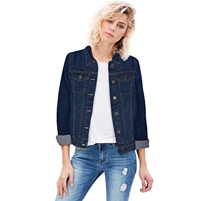 HyBrid & Company Women Junior Classic 4 Pockets Denim Jacket at Women's Coats Shop