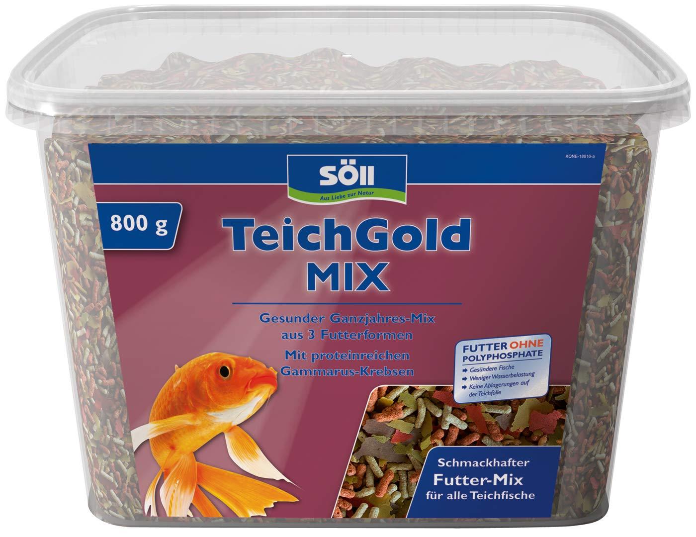 Söll GmbH Teich-Gold Mix - Alleinfuttermittel für alle Teichfische - Fischfutter - Gartenteich 1er Pack (1 x 1 l) 18808
