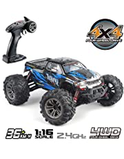 Hosim 1:16 Scale 4WD 36km/h High Speed RC Truck 9130 Remote Control RC Car 2.4Ghz Radio Controlled Off-Road RC Monster Truck RTR Hobby Car Buggy for Kids Adults (Blue) - Built-in New Plug Battery